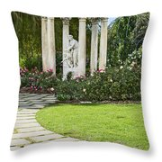 Temple Of Love Statue At The Rose Garden Of The Huntington. Throw Pillow