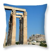 Temple Of Olympian Zeus And Acropolis In Athens Throw Pillow