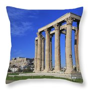 Temple Of Olympian Zeus Athens Greece Throw Pillow