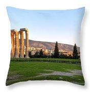 Temple Of Olympian Zeus. Athens Throw Pillow