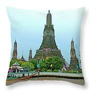Temple Of The Dawn-wat Arun From Waterways Of Bangkok-thailand Throw Pillow