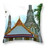 Temple Of The Dawn-wat Arun In Bangkok-thailand Throw Pillow