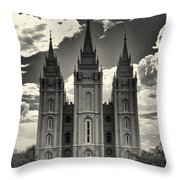 Temple Square Black And White Throw Pillow