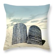 Ten Commandments Standing In The Desert Throw Pillow