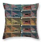 Ten Lobster Traps Throw Pillow by Stuart Litoff