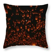 Ten Thousand Lantern Launch Throw Pillow