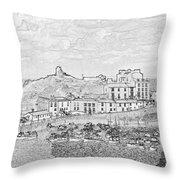 Tenby Harbor Panorama Throw Pillow