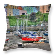 Tenby Harbour In Summer 4 Throw Pillow