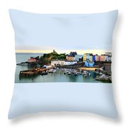 Tenby Harbour Panorama Throw Pillow