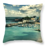 Tenby Harbour Pembrokeshire Throw Pillow