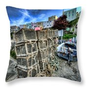 Tenby Lobster Traps Throw Pillow