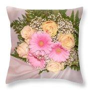 Tender Bridal Bouquet Witn Wedding Rings Throw Pillow
