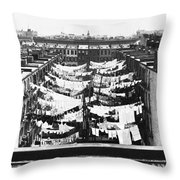 Tenement Housing Laundry Throw Pillow