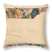 Tennessee Map Vintage Watercolor Throw Pillow