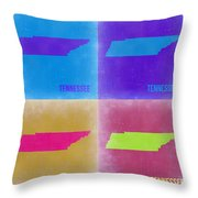 Tennessee Pop Art Map 2 Throw Pillow