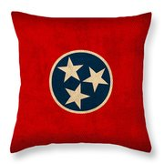 Tennessee State Flag Art On Worn Canvas Throw Pillow