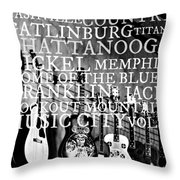 Tennessee Words Sign Throw Pillow by Chastity Hoff