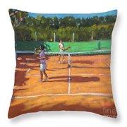 Tennis Practice Throw Pillow