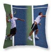 Tennis Serve By Mikhail Youzhny Throw Pillow
