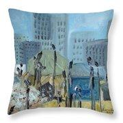 Tent City Homeless Throw Pillow
