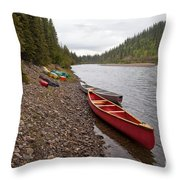 Tents And Canoes At Mcquesten River Yukon Canada Throw Pillow
