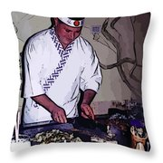 Teppanyaki Cooking  Throw Pillow