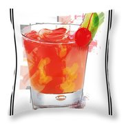 Tequila Sunrise Cocktail Marker Sketch Throw Pillow