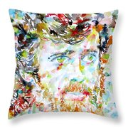 Terence Mckenna - Watercolor Portrait.3 Throw Pillow