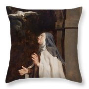 Teresa Of Avilas Vision Of A Dove Throw Pillow
