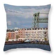 Terraced Houses And Koninginnebrug In Rotterdam Throw Pillow
