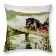 Terrier - Fishing Throw Pillow