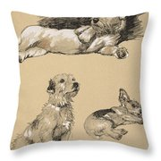 Terriers, 1930, Illustrations Throw Pillow