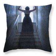 Terrified Woman Alone Throw Pillow