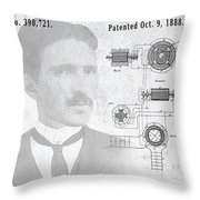 Tesla A / C Current Patent Art 1888 Throw Pillow