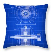 Tesla Alternating Electric Current Generator Patent 1891 - Blue Throw Pillow