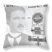 Tesla And The Electro Magnetic Motor Patent Throw Pillow