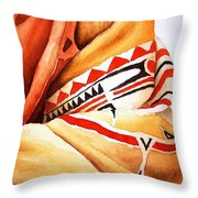 Teton Dacota Indian Woman Detail Throw Pillow