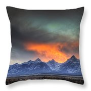 Teton Explosion Throw Pillow by Mark Kiver