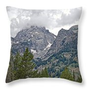 Teton Peaks Near Jenny Lake In Grand Teton National Park-wyoming- Throw Pillow