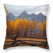 1m9354-teton Range In Autumn From Jackson Hole Ranch Country Throw Pillow