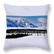 Teton Valley Winter Grand Teton National Park Throw Pillow