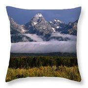 1m9396-tetons Above Fog, Wy Throw Pillow