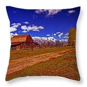 Tetons And Gambrel Barn Perspective Throw Pillow