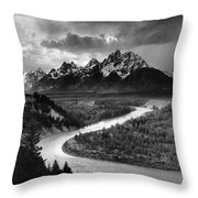 Tetons And The Snake River Throw Pillow