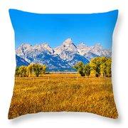 Tetons Autumn Panorama Throw Pillow