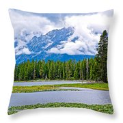 Tetons From Heron Pond In Grand Teton National Park-wyoming Throw Pillow