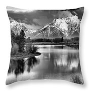 Tetons In Black And White Throw Pillow
