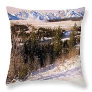 Tetons In The Distance Throw Pillow