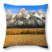 Tetons Panorama Throw Pillow
