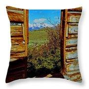 Tetons Through Log House Window Throw Pillow